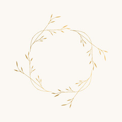 Fototapeta Golden wreath with minimalistic herbs and leaves. Vector isolated illustration.