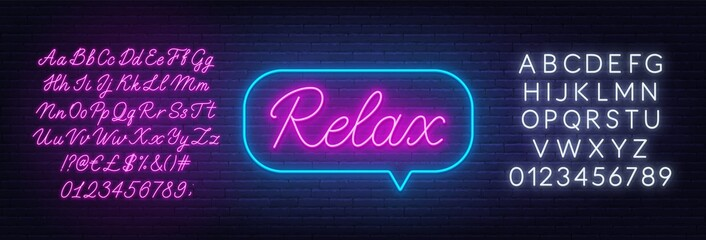 Relax neon sign in the speech bubble on brick wall background.