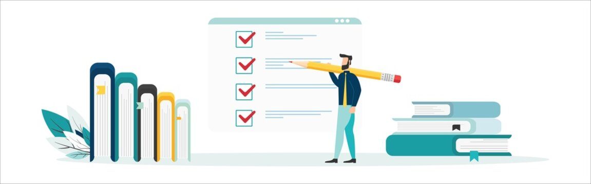 Online education vector illustration. Concept of online courses. e-learning. digital library. e-book. online exam. examination and testing in university. college. Flat illustration for UI, banner.