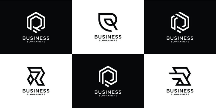 Set of letter r logo collection with creative concept