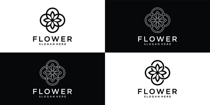 Floral ornament logo and icon set