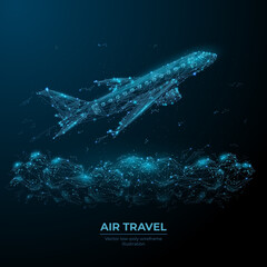 Fototapeta 3d airplane flying over clouds. Digital vector airliner in the sky. Air travel, airline transportation concept. Low poly dark blue wireframe with dots, lines and flying particles look like debris
