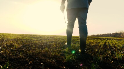 Fototapeta Farmer in boots walks with his own clipboard across field with green shoots. Businessman walks on ground in spring assessing green seedlings of wheat at sunset. Agriculture. Smart farming technologies