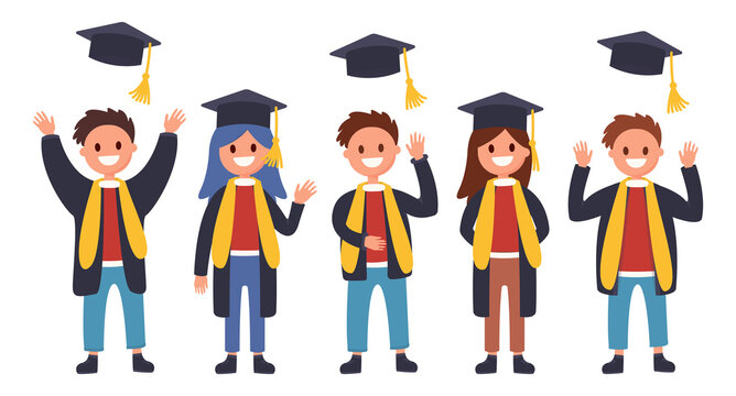 Girls and boys graduates are standing. Guys throw up hats, college graduation, last day of school, men and women are very happy, flat