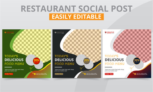 Best restaurant social media marketing campaigns Ads templates for breakfast, lunch & dinner food menu promotion. Creative square social web banner layouts.