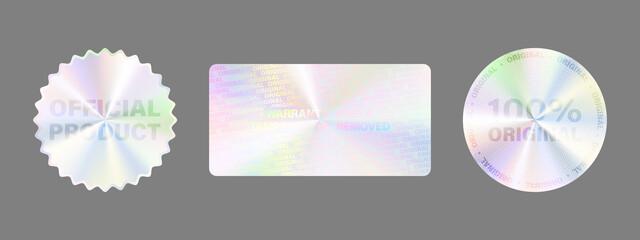 Obraz Product Certification Symbol. Hologram Sticker Set - fototapety do salonu