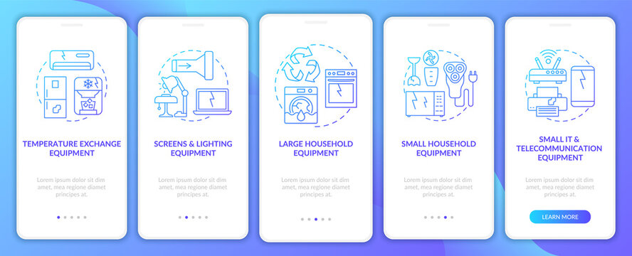 Toxic-waste types onboarding mobile app page screen with concepts. Large, small appliances walkthrough 5 steps graphic instructions. UI, UX, GUI vector template with linear color illustrations