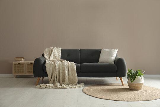 Living room interior with stylish comfortable sofa