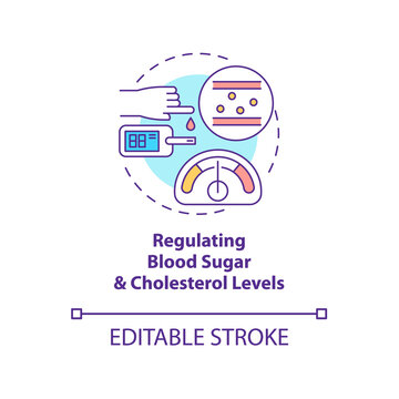 Regulating blood sugar and cholesterol levels concept icon. Liver function idea thin line illustration. Heart disease risk prevention. Vector isolated outline RGB color drawing. Editable stroke
