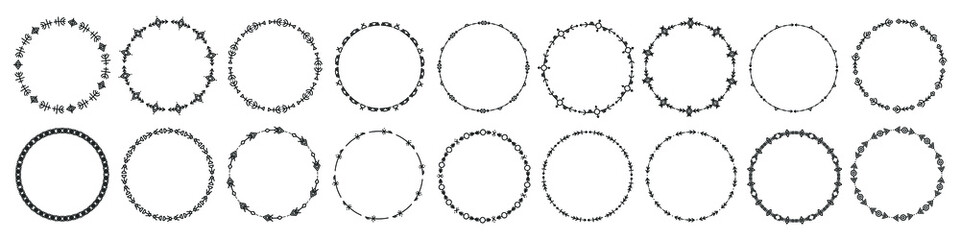 Fototapeta Set of round frames and monograms. Collection decorative circle borders. Abstract doodle. Rounds scribble line circles. Doodle circular logo design elements. Template labels, stickers, cards. Vector.