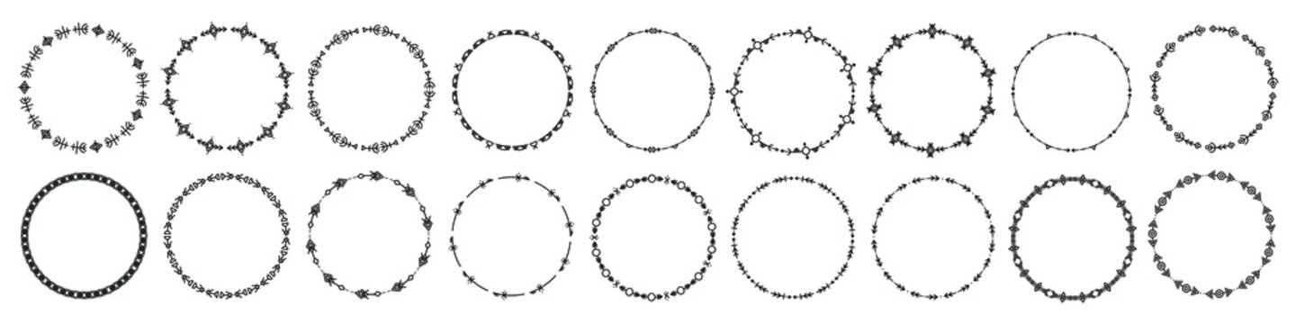 Set of round frames and monograms. Collection decorative circle borders. Abstract doodle. Rounds scribble line circles. Doodle circular logo design elements. Template labels, stickers, cards. Vector.