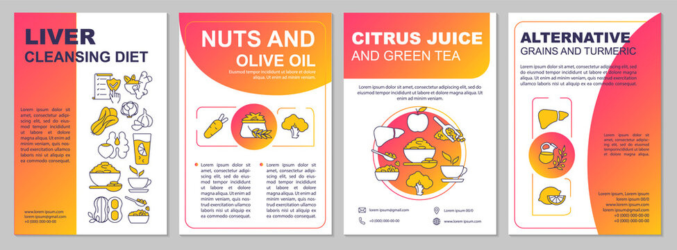 Liver cleansing diet brochure template. Olive oil, citrus juice. Flyer, booklet, leaflet print, cover design with linear icons. Vector layouts for presentation, annual reports, advertisement pages