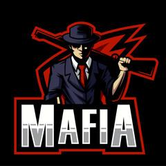 mafia carrying shotgun esports logo design. illustration of mafia carrying shotgun mascot design. - fototapety na wymiar
