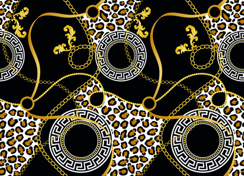 Seamless chain with leopard pattern.Vector design for fashion print and backgrounds.