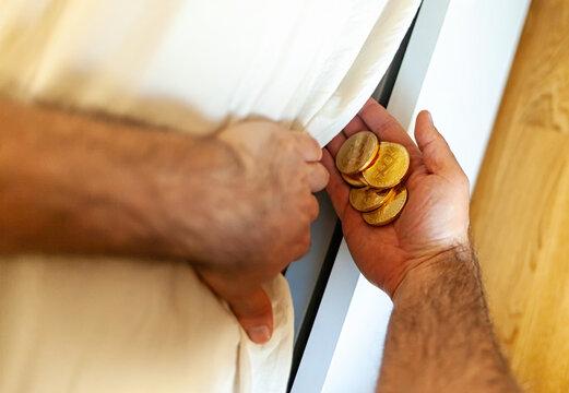 Bitcoin coins hidden under the mattress.