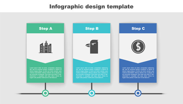 Set City landscape, Eagle head and Coin money with dollar. Business infographic template. Vector