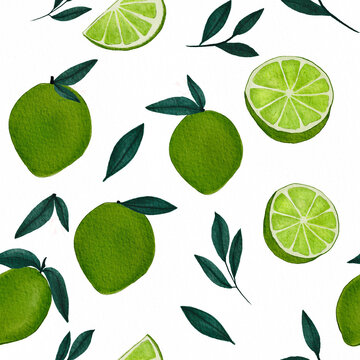 Trendy green seamless pattern with watercolor lime fruit, full and cut. Illustration