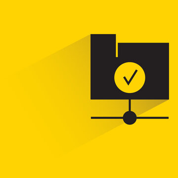 folder and check mark with shadow on yellow background