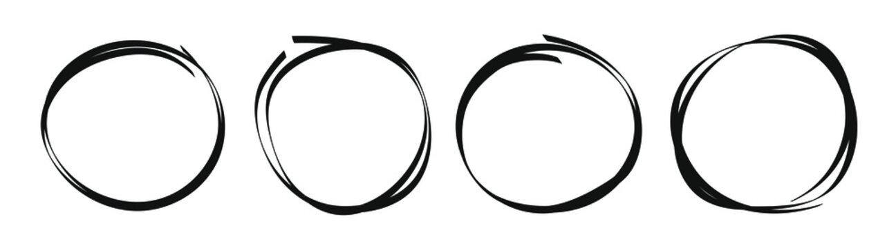 Hand drawn circles sketch frame rounds doodle set