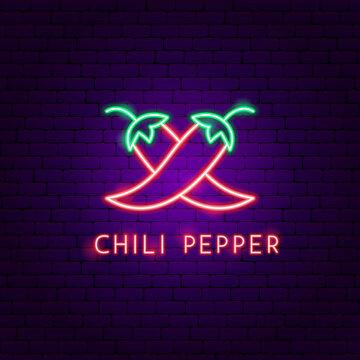 Chili Pepper Neon Label