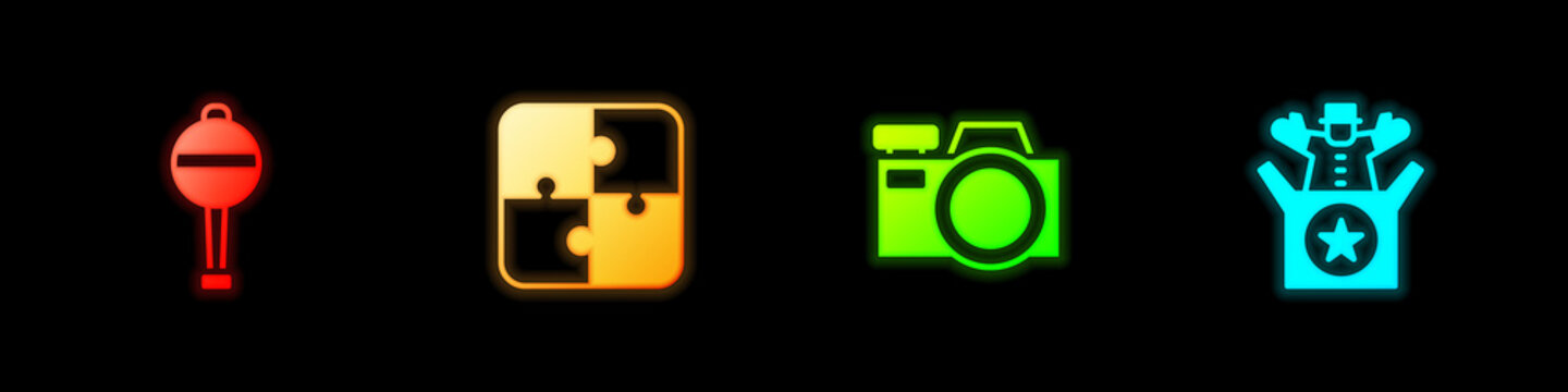 Set Rattle baby toy, Puzzle pieces, Photo camera and Jack in the box icon. Vector