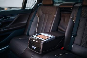 Fototapeta Luxury car rear seat row