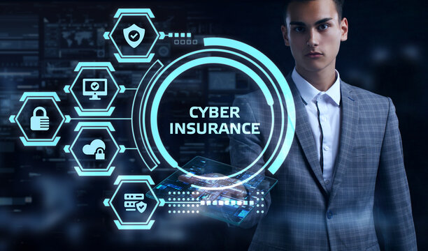 Cyber security data protection business technology privacy concept. Young businessman select the word Cyber insurance on the virtual display.