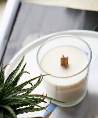 Fototapeta Natural new soy wax candle with wooden wick in clear glass jar obraz
