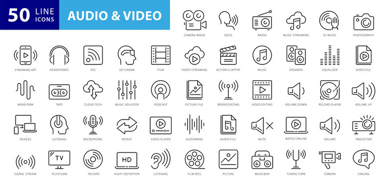 Audio Video Icons Pack. Thin line icons set. Flat icon collection set. Simple vector icons