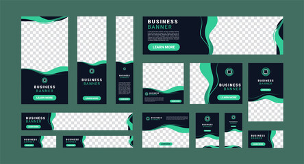 Fototapeta set of creative modern business ad banner with a place for photos. Business brochure flyer design template. Vertical, horizontal and square template. Illustration vector