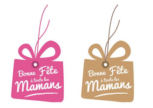 étiquette cadeau, bonne fête à toutes les mamans, fête des mères, rose et kraft