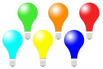 Fototapeta Kolorowe żarówki ustawione poziomo w takim samym rozmiarze na białym tle w wersji 2D. obraz