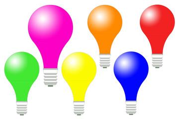 Fototapeta Kolorowe żarówki ustawione poziomo z jedną większą żarówką na białym tle w wersji 2D i odblaskiem. obraz