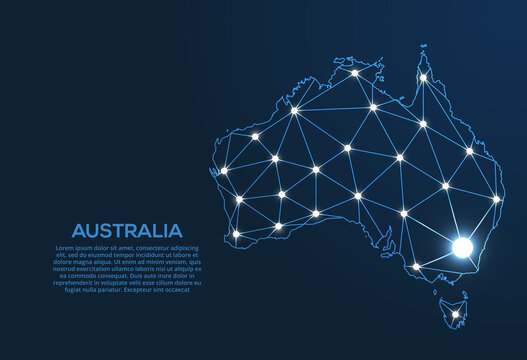 Australia communication network map. Vector low poly image of a global map with lights in the form of cities. Map in the form of a constellation, mute and stars