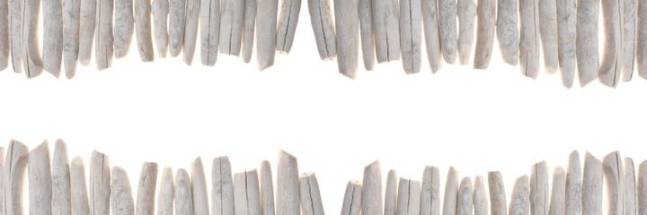 Fototapeta Driftwood banner. row of gray sea snags set isolated on white background.Marine nature  background. Marine gray driftwood set.Decor in a nautical style. sea driftwood banner obraz