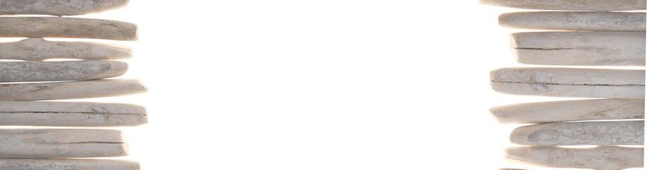 Fototapeta Driftwood banner. gray sea snags set isolated on white background.Marine nature  background. Marine gray driftwood set.Decor in a nautical style. sea driftwood banner obraz