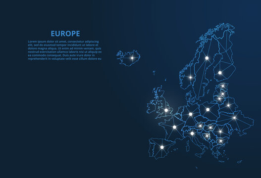 Europe communication network map. Vector low poly image of a global map with lights in the form of cities. Map in the form of a constellation, mute and stars