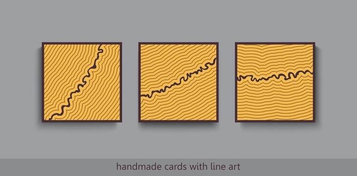 Modern hand made decorative cards. Minimalistic scandinavian style. Artistic thin linear print design. Vector poster