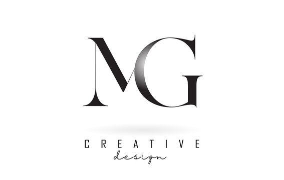 MG m g letter design logo logotype concept with serif font and elegant style vector illustration.