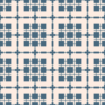 Vector abstract geometric seamless pattern. Blue and beige texture with squares, grid, net, mesh, lattice. Stylish ornamental geometrical background. Repeat design for print, decor, wallpaper, fabric