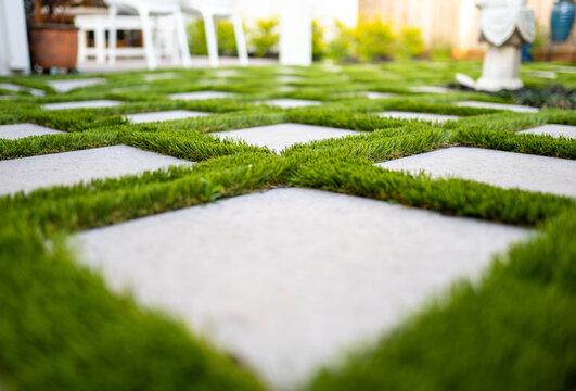 Astro turf with paver patio