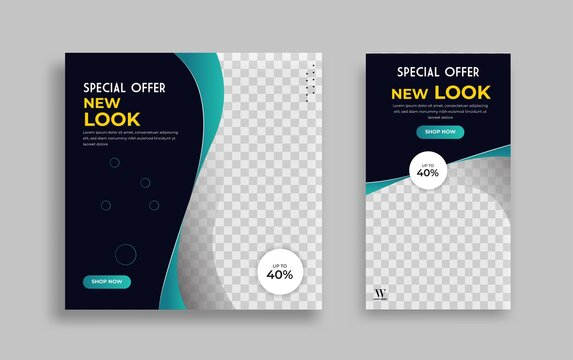 Set of Editable minimal square banner template. Green blue background color with geometric shapes for social media post and web internet ads. Vector illustration