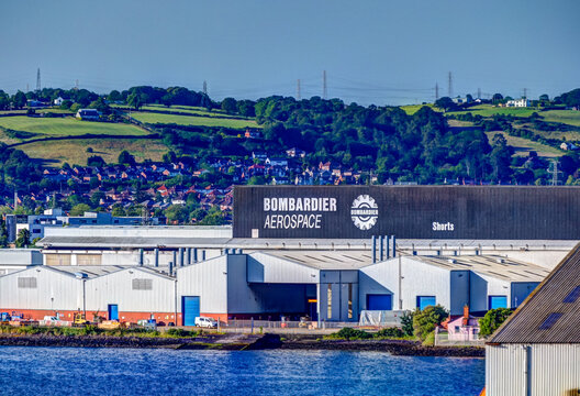Belfast, Ireland - July 5, 2019: The Bombardier factory in the port of Belfast Ireland