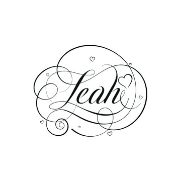 """English Calligraphy """"Leah"""" Name, a unique hand drawn vector design for Wedding and more."""