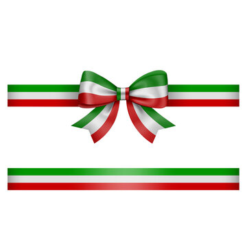 tricolor bow and ribbon green white and red  bow with ribbon italian or mexican flag colors