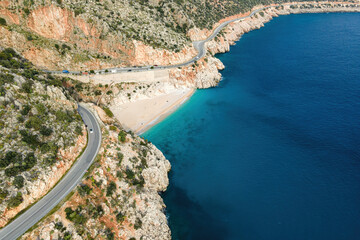 Fototapeta Kaputas beach aerial view from drone. Beautiful bay of Antalya, Turkey, near the city of Kas. Bay is washed by the turquoise sea.