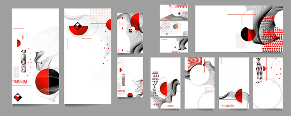Poster design Japanese style templates set invitations to lines abstract background for book cover texture brochure