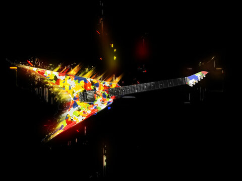 Abstract and colorful heavy metal guitar
