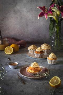 Lemon curd cupcakes spring scene