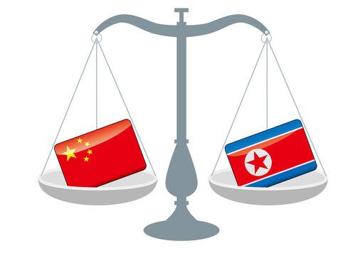 天秤と国旗 中国と北朝鮮の国旗 国家対立 国家紛争 国際司法 貿易のイメージイラスト